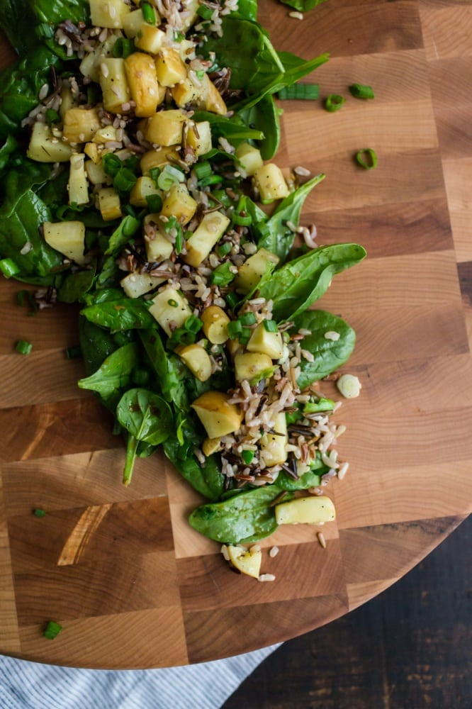 Roasted Parsnip Spinach Salad | @naturallyella