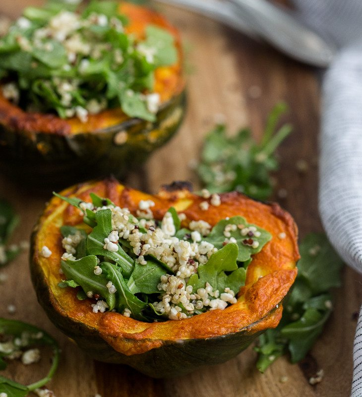 Curried Acorn Squash with a Quinoa Arugula Salad