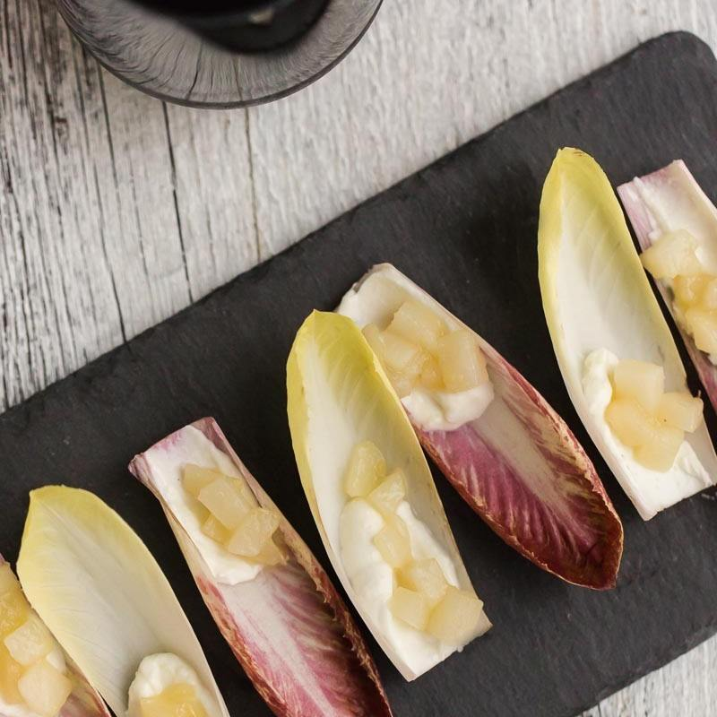 Pear and Goat Cheese Endive Appetizer | Naturally Ella