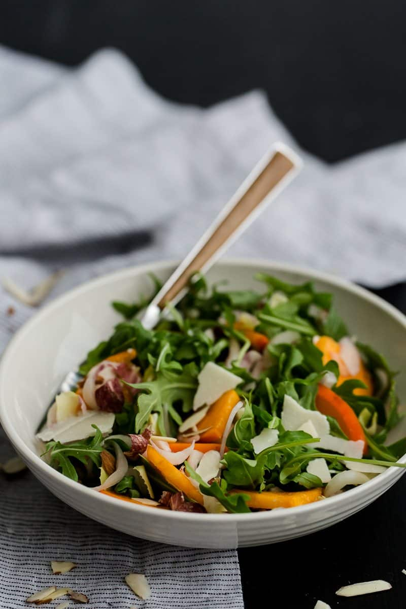 Winter Persimmon Salad with Arugula and Endives | @naturallyella
