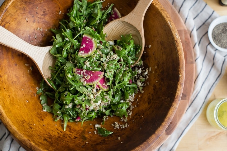 Arugula Radish Salad with Lemon Vinaigrette | @naturallyella