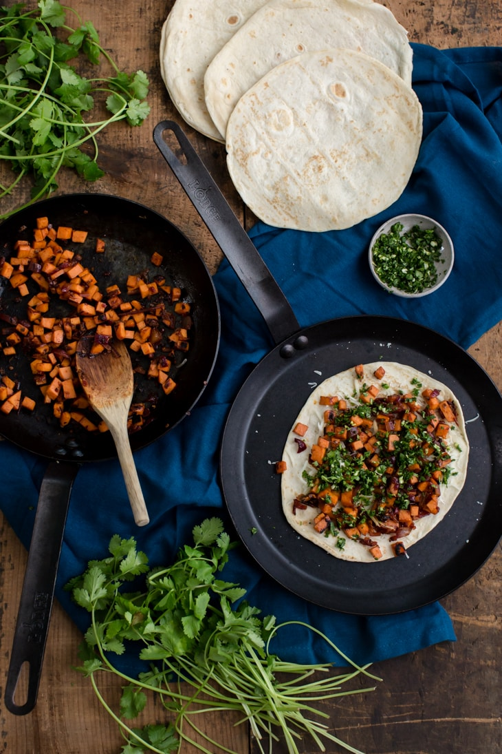 Chipotle Sweet Potato Quesadilla with Cilantro Gremolata | @naturallyella