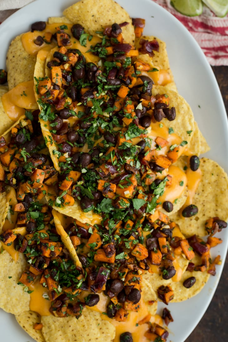 Chipotle Sweet Potato Vegetarian Nachos | @naturallyella