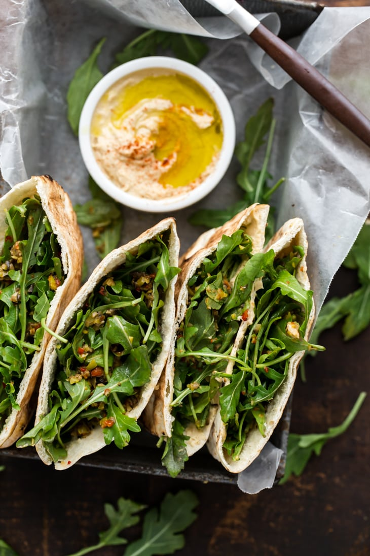 Olive Tapenade, Arugula and Hummus Stuffed Pita
