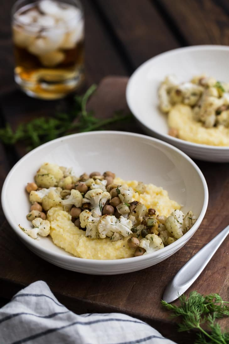 Roasted Fennel and Cauliflower with Chickpeas and Dill | @naturallyella