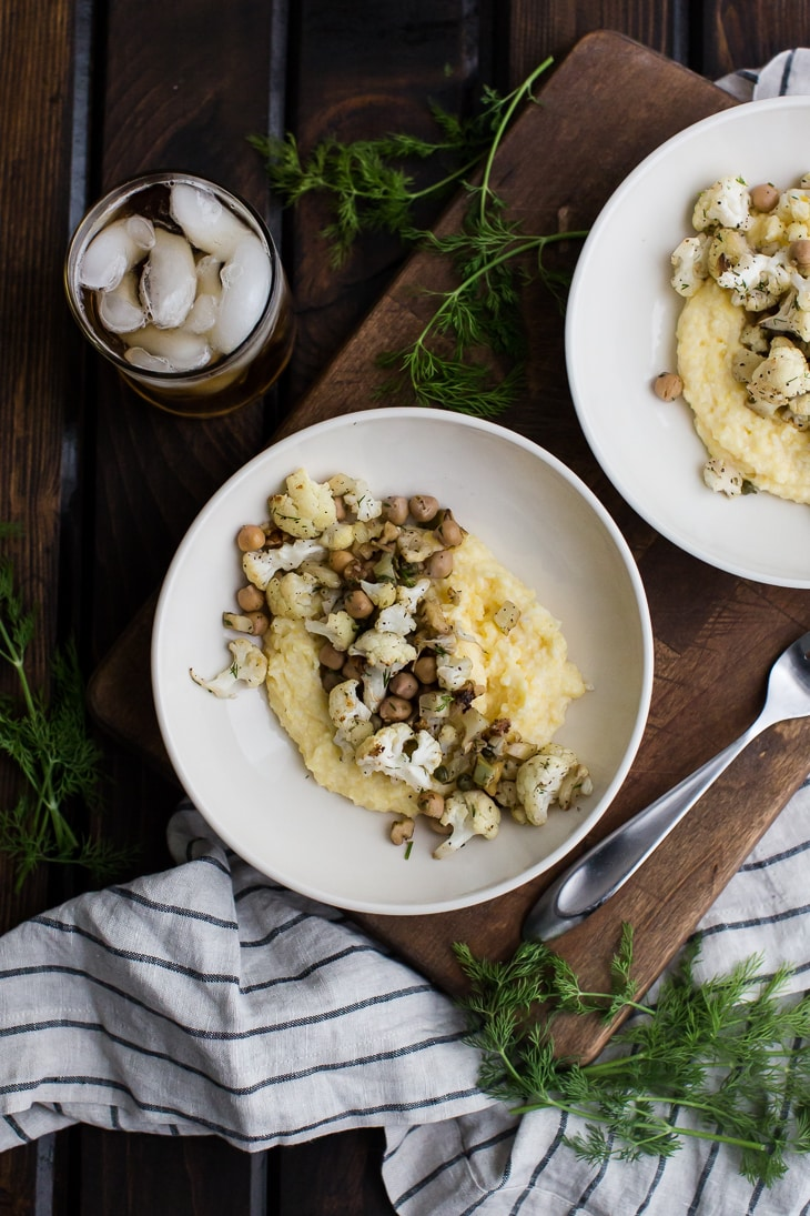 Roasted Fennel and Cauliflower with Chickpeas served over Polenta | @naturallyella