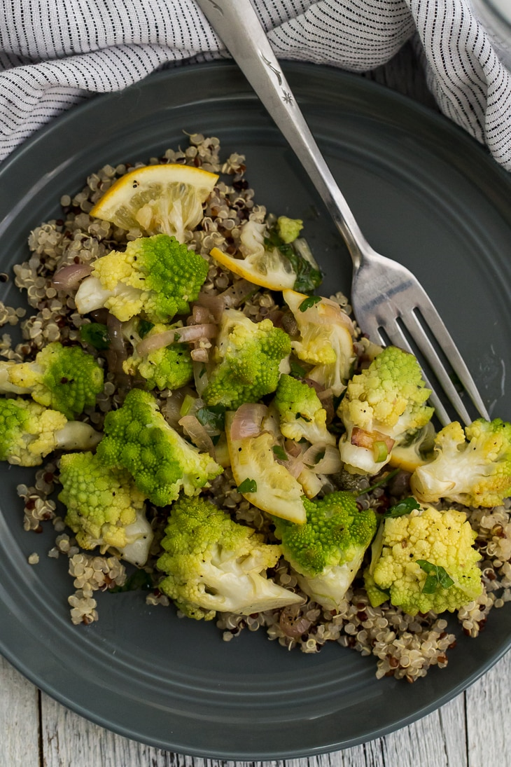 Roasted Romanesco with Meyer Lemon Salsa | @naturallyella