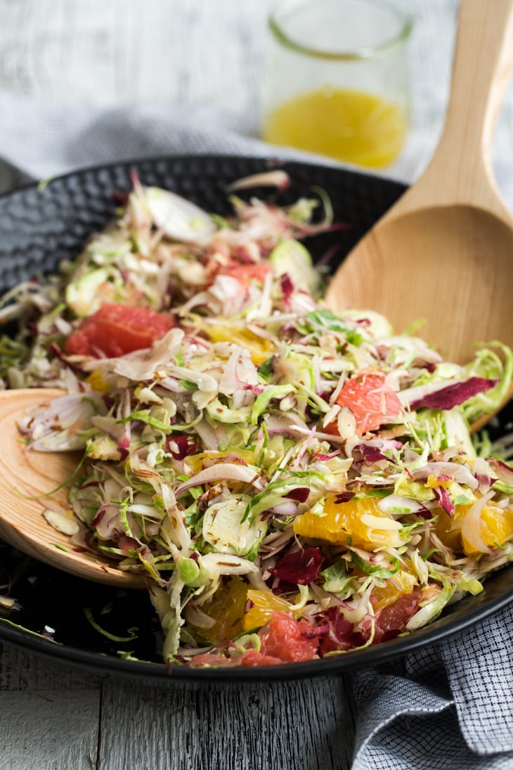 Shaved Endive and Brussels Sprout Citrus Salad | @naturallyella