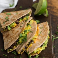 Avocado Quesadilla with Chipotle Black Beans