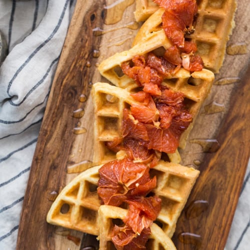 Cornbread Waffles with Roasted Grapefruit | @naturallyella
