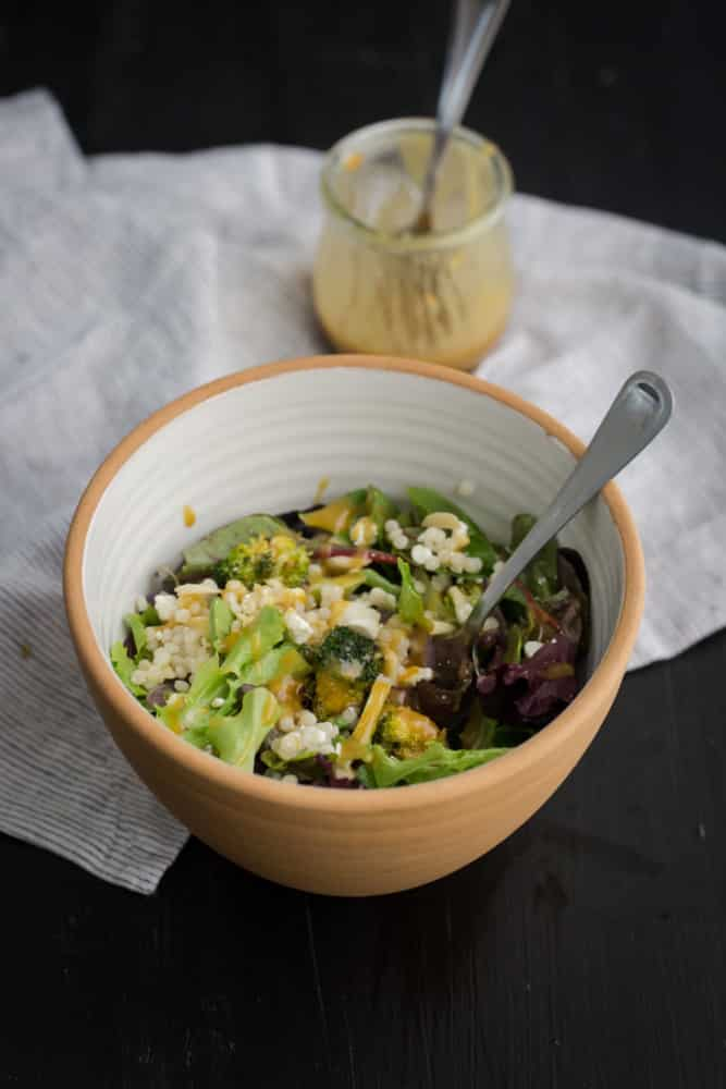 Roasted Broccoli Salad with Tahini Dressing and Couscous | @naturallyella