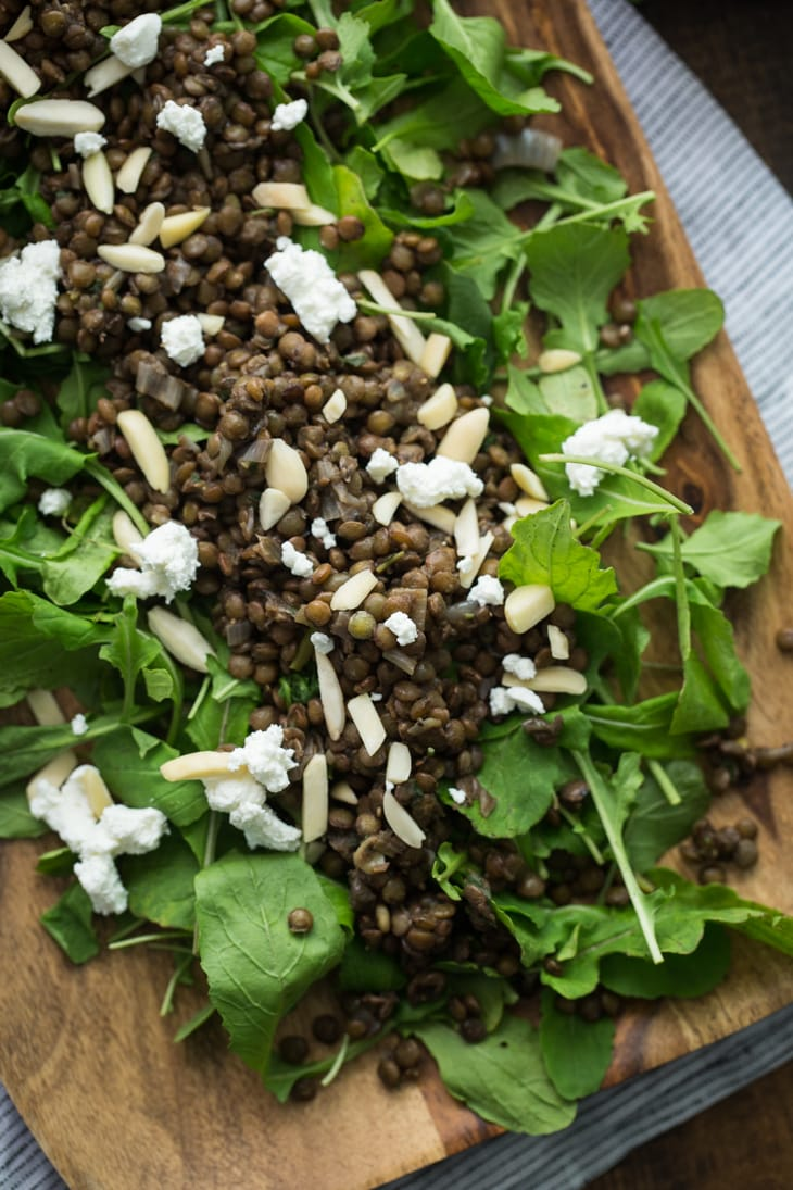 Arugula Lentil Salad with Goat Cheese | @naturallyella