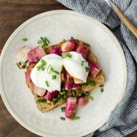 Buttered Radishes with Poached Eggs