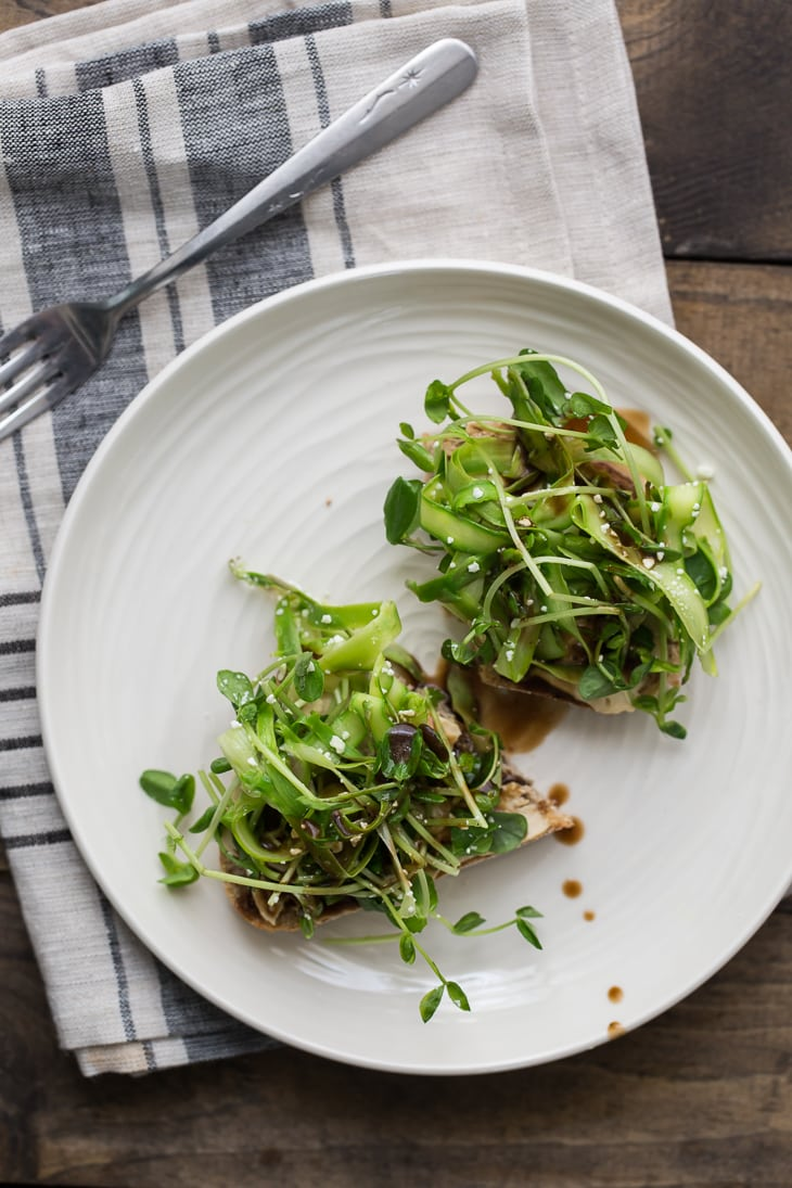 Pea Shoot and Asparagus Crostini | @naturallyella
