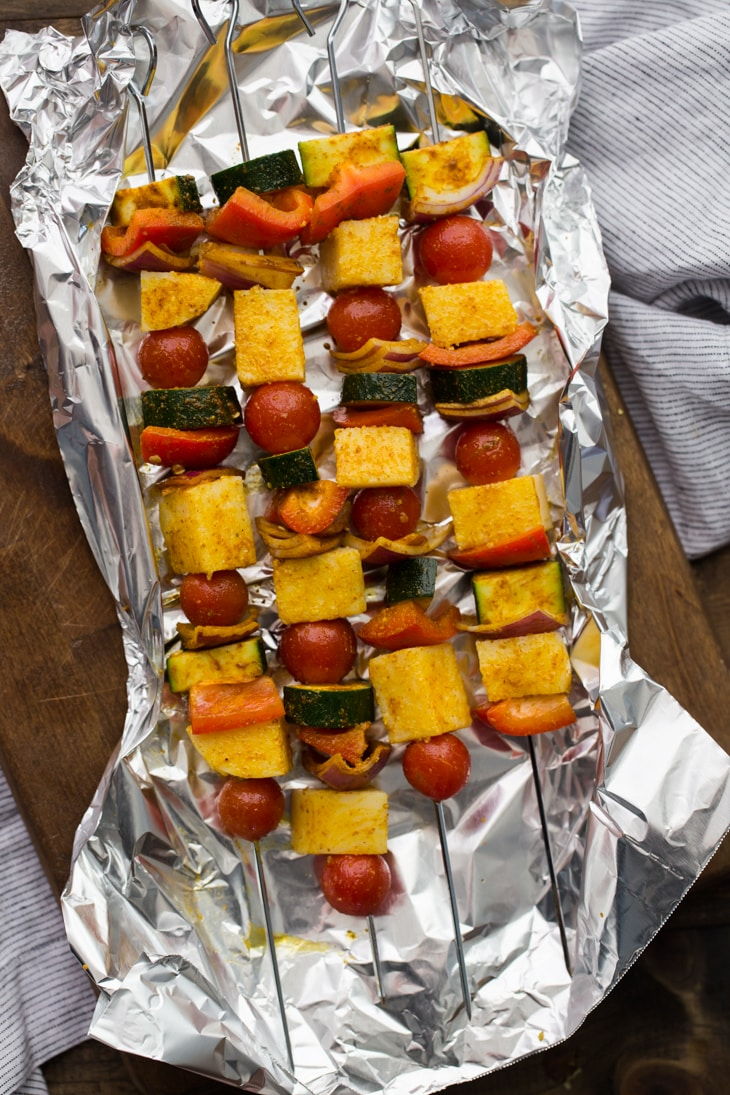 Curried Vegetable Polenta Kabobs | @naturallyella