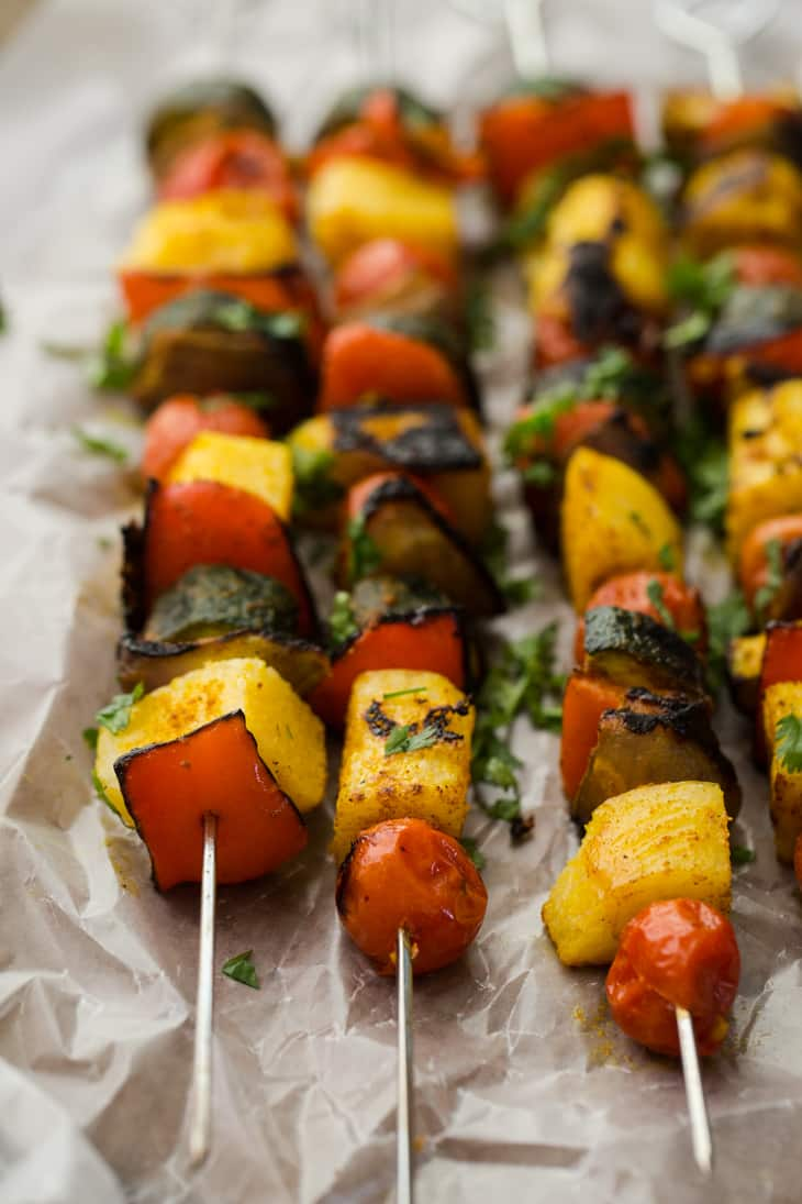 Curried Vegetable Polenta Kabobs | http://naturallyella.com