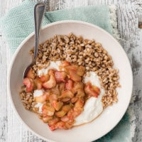 Farro Yogurt Bowl with Maple Rhubarb | @naturallyella