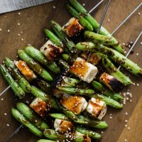 Halloumi and Sugar Snap Pea Skewers with Soy Ginger Sauce | @naturallyella