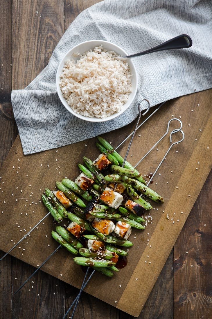 Snap Pea Skewers with Soy-Ginger Sauce | @naturallyella