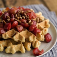 Waffles with Vanilla Bean Cherries | http://naturallyella.com