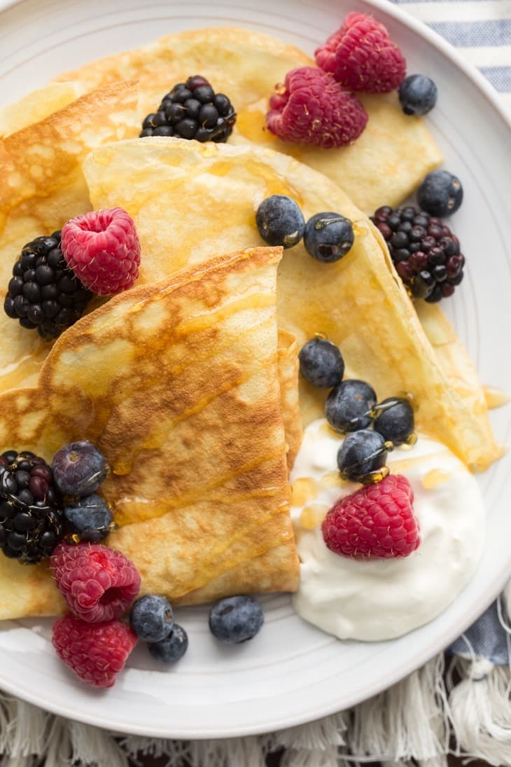 Einkorn Crepes with Fresh Berries | http://naturallyella.com