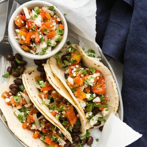 Black Bean Tacos with Roasted Red Pepper Relish | http://naturallyella.com
