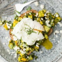 Pesto Summer Squash Bruschetta with Poached Eggs