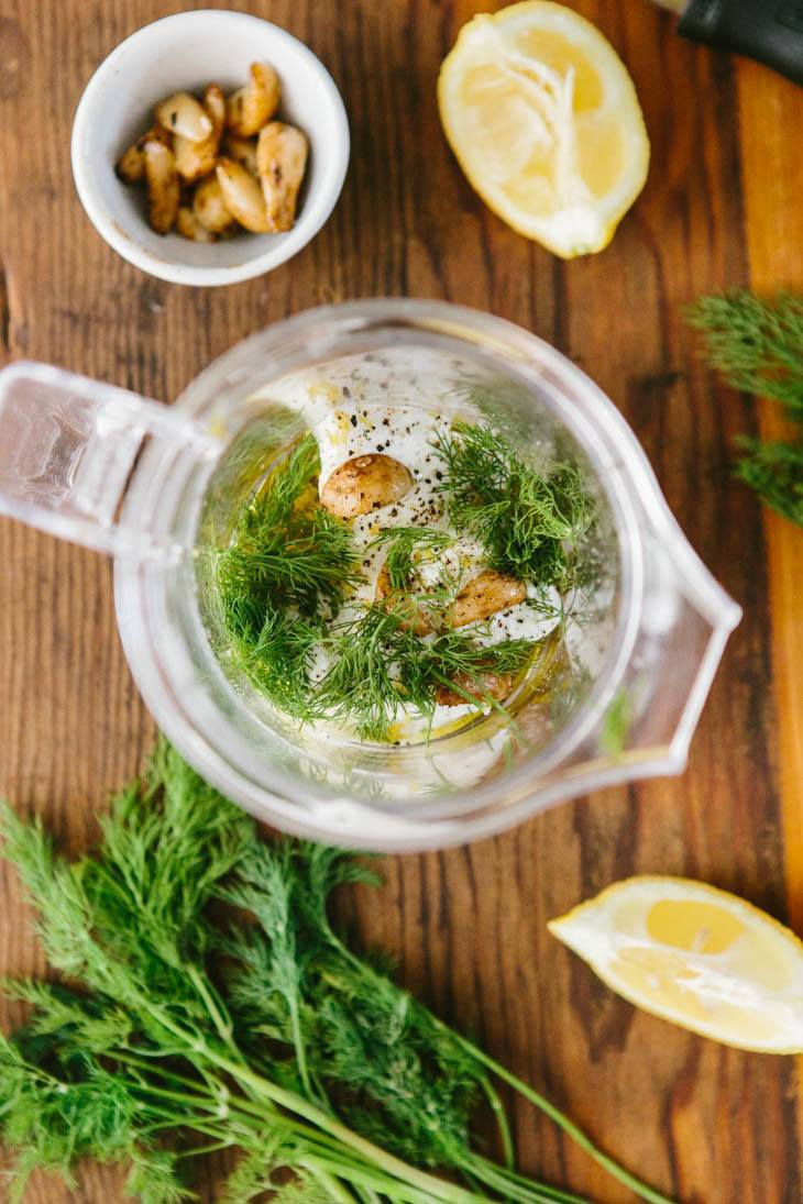 Roasted Garlic Dill Dressing | @naturallyella