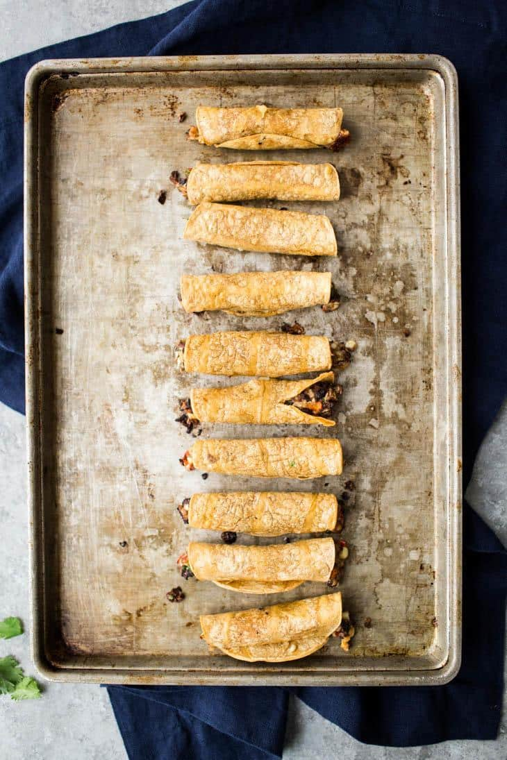 Baked Black Bean Taquitos | @naturallyella