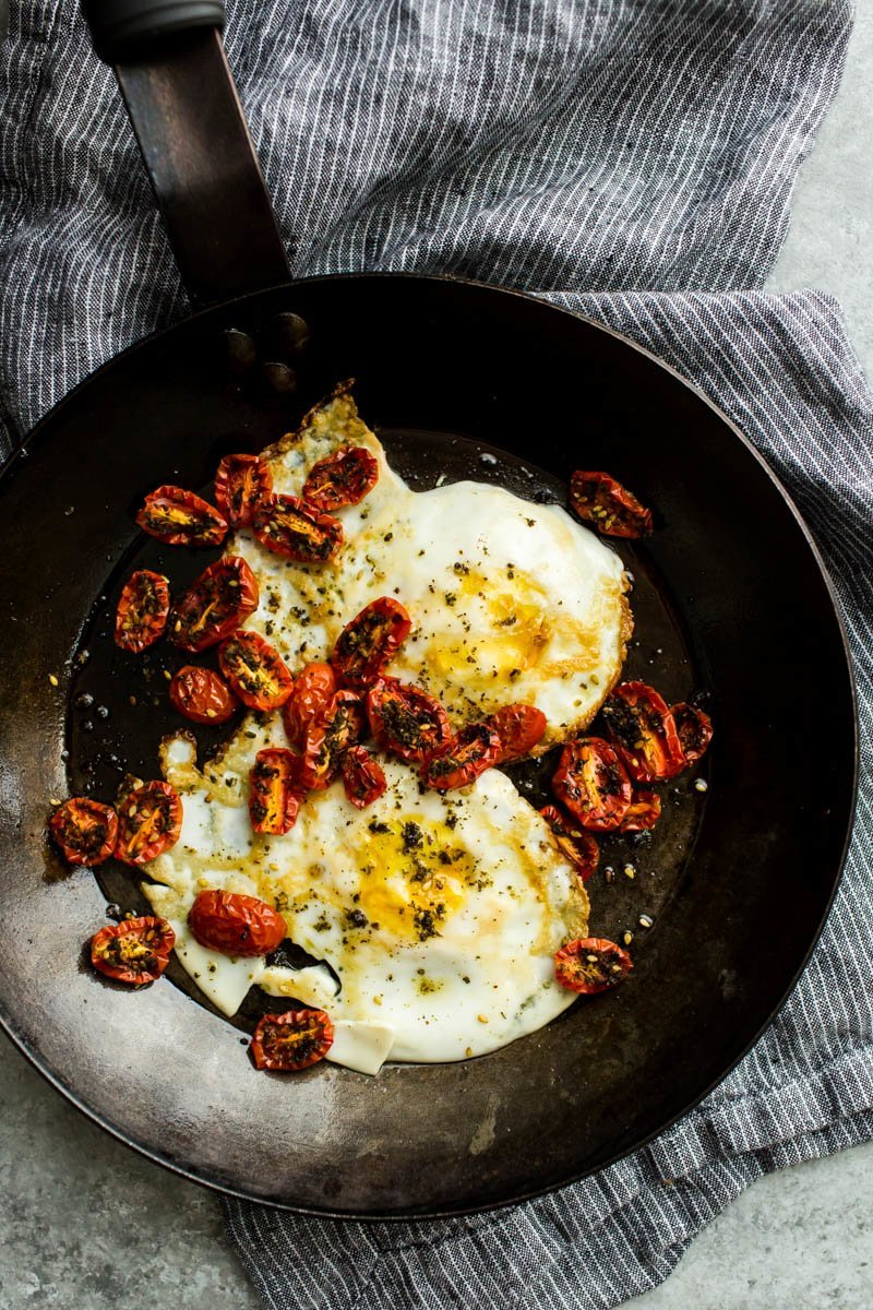 Za'atar Roasted Tomatoes with Fried Eggs