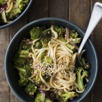 Roasted Broccoli Peanut Noodles