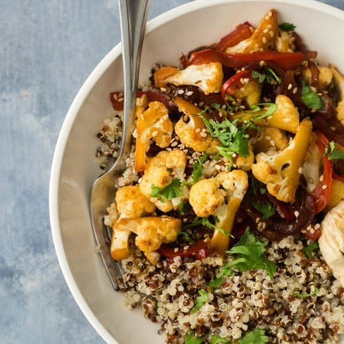 Cauliflower Stir fry with Quinoa