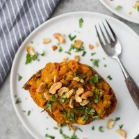 Curried Twice-Baked Sweet Potato | Naturally Ella