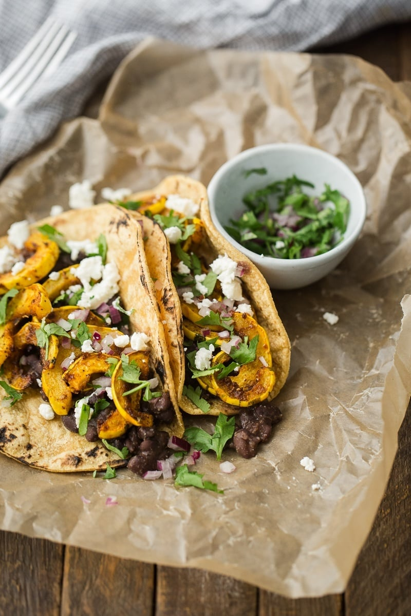 Delicata Squash Tacos with Black Beans and Goat Cheese