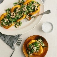 Roasted Red Kuri Squash with Cannellini Bean and Spinach Salad