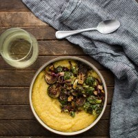 Balsamic Roasted Brussels Sprouts with Polenta