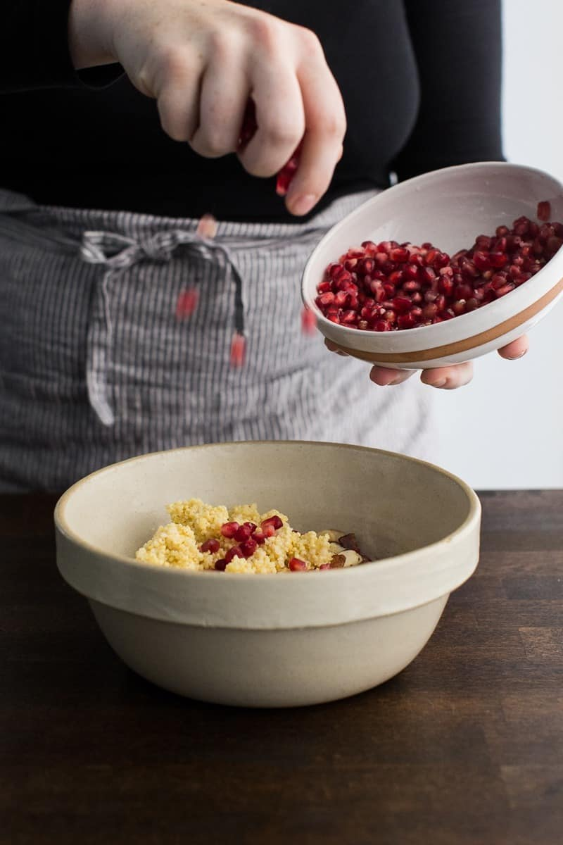 Pomegranate Seeds to Bowl