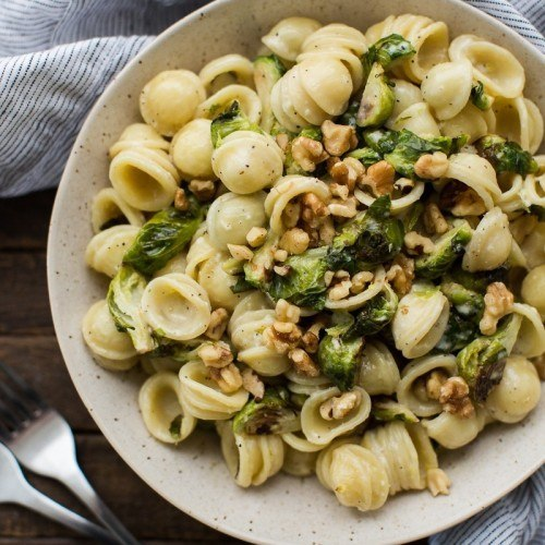 Brussels Sprout Pasta with Lemon Cream Sauce and Walnuts