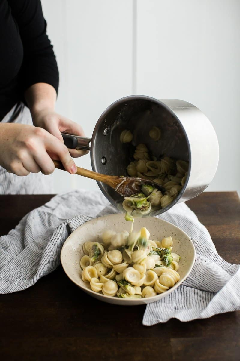 Roasted Brussels Sprout Pasta with a Simple Lemon Cream Sauce