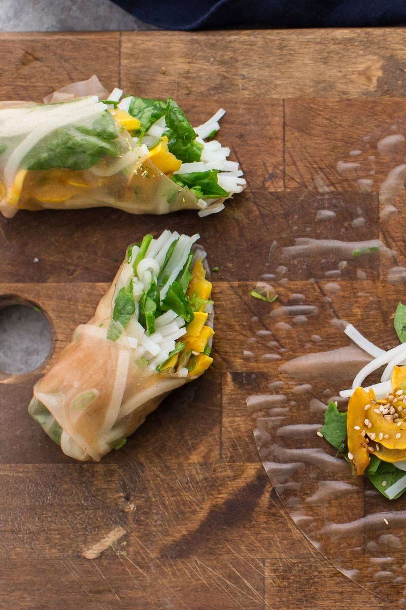 Sesame Delicata Squash Spring Rolls with Spinach
