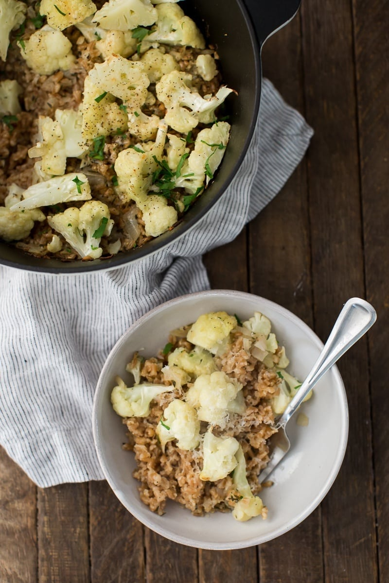 Baked Farro Risotto with Cauliflower and Shallots