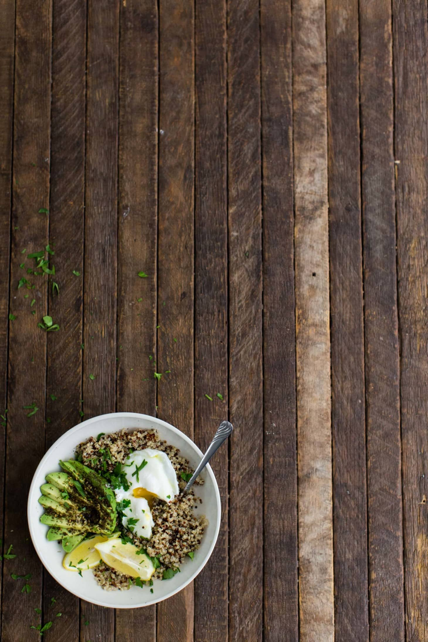 Quinoa Bowl with Za'atar Avocado and Poached Egg