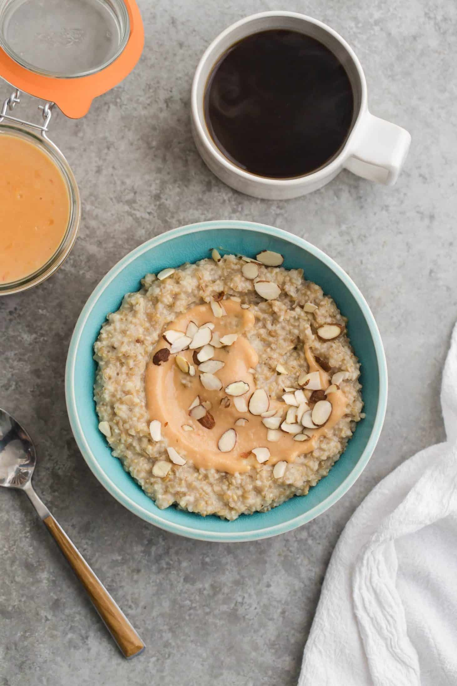 Steel Cut Oats with Citrus Curd and Almonds