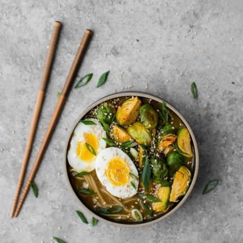 Vegetarian Ramen Bowl with Roasted Brussels Sprouts