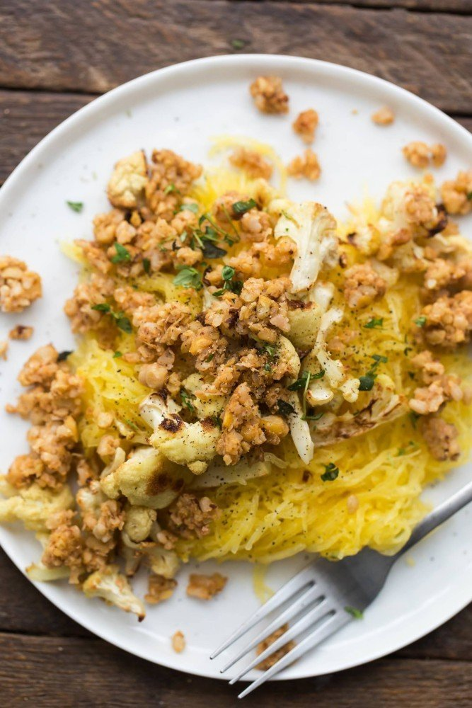 Roasted Spaghetti Squash with Thyme Butter and Chickpea Crumble
