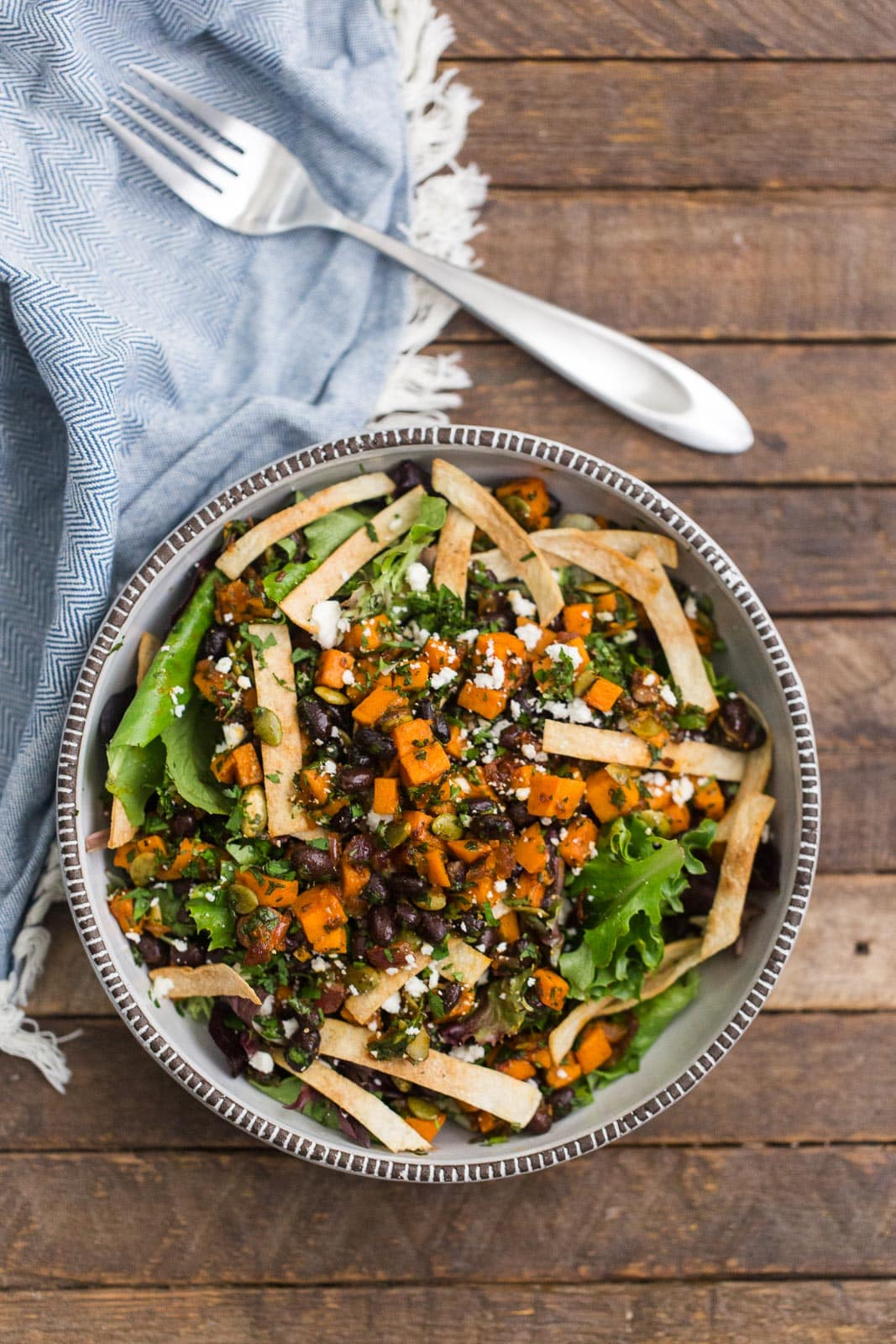 Chipotle Sweet Potato Taco Salad with Black Beans