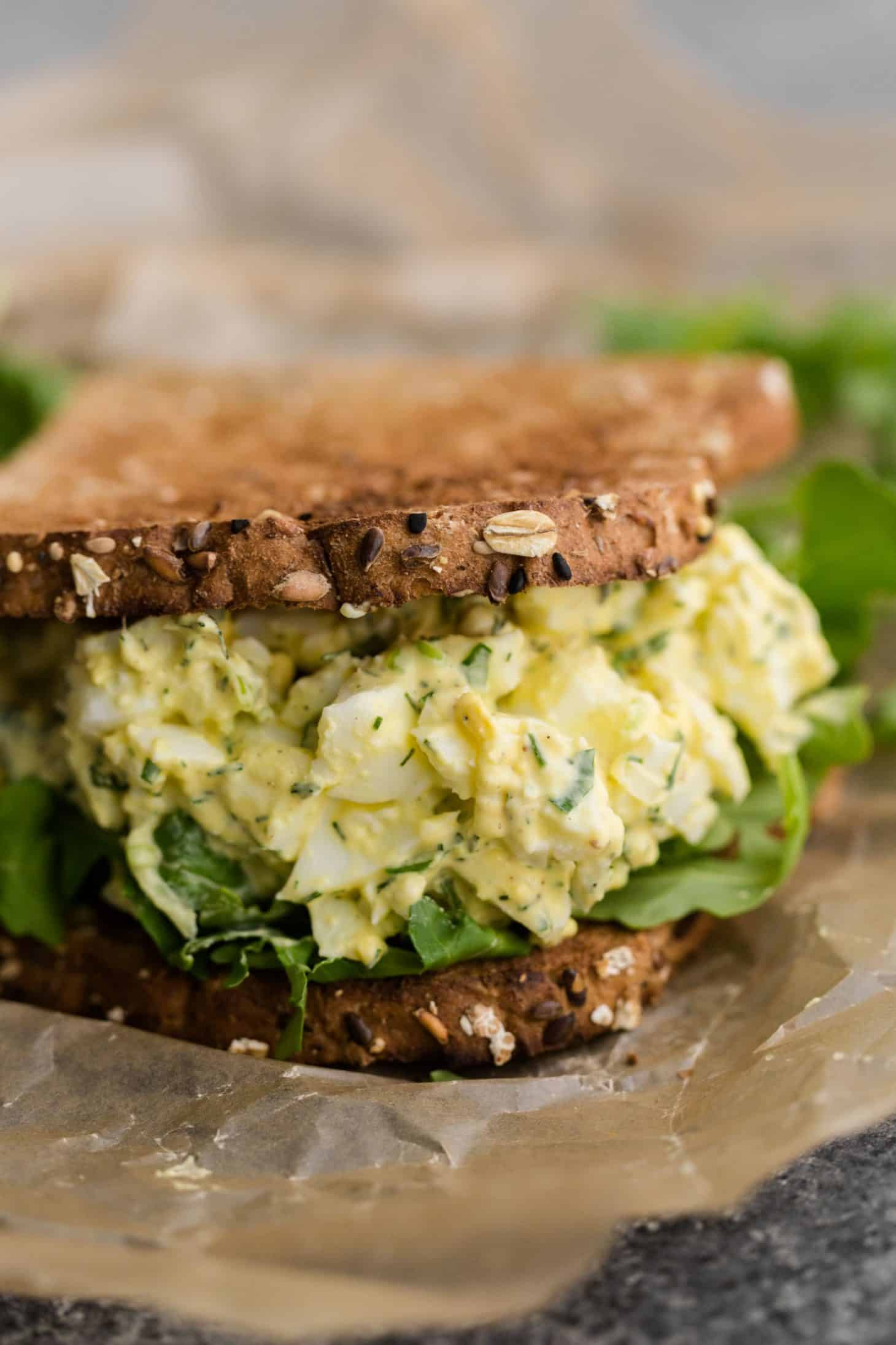 Egg Salad Sandwich with Herbs and Scallions
