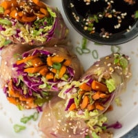 Roasted Carrot Summer Rolls with Cabbage