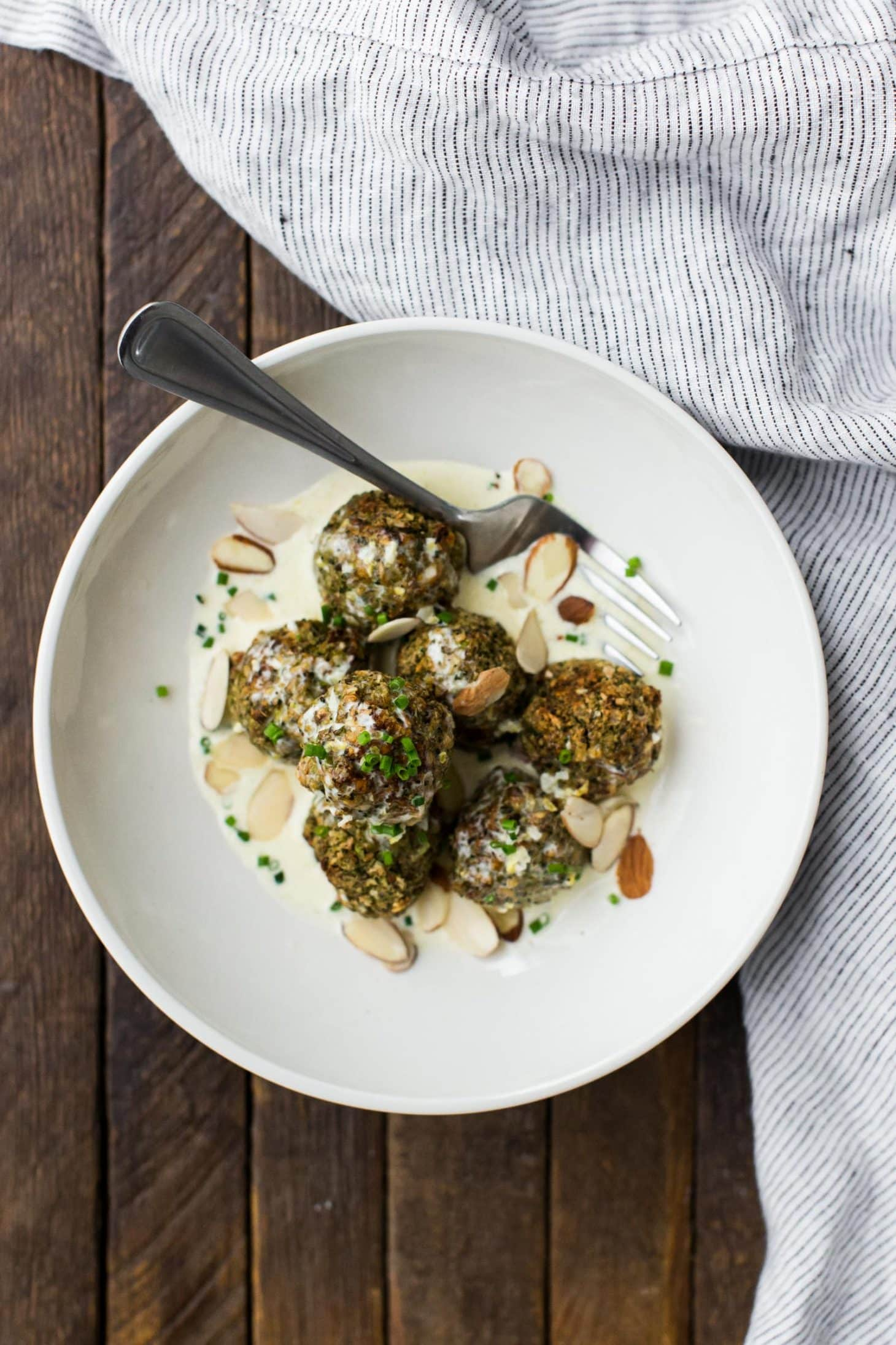 Lentil Broccoli Bites with Cream Sauce
