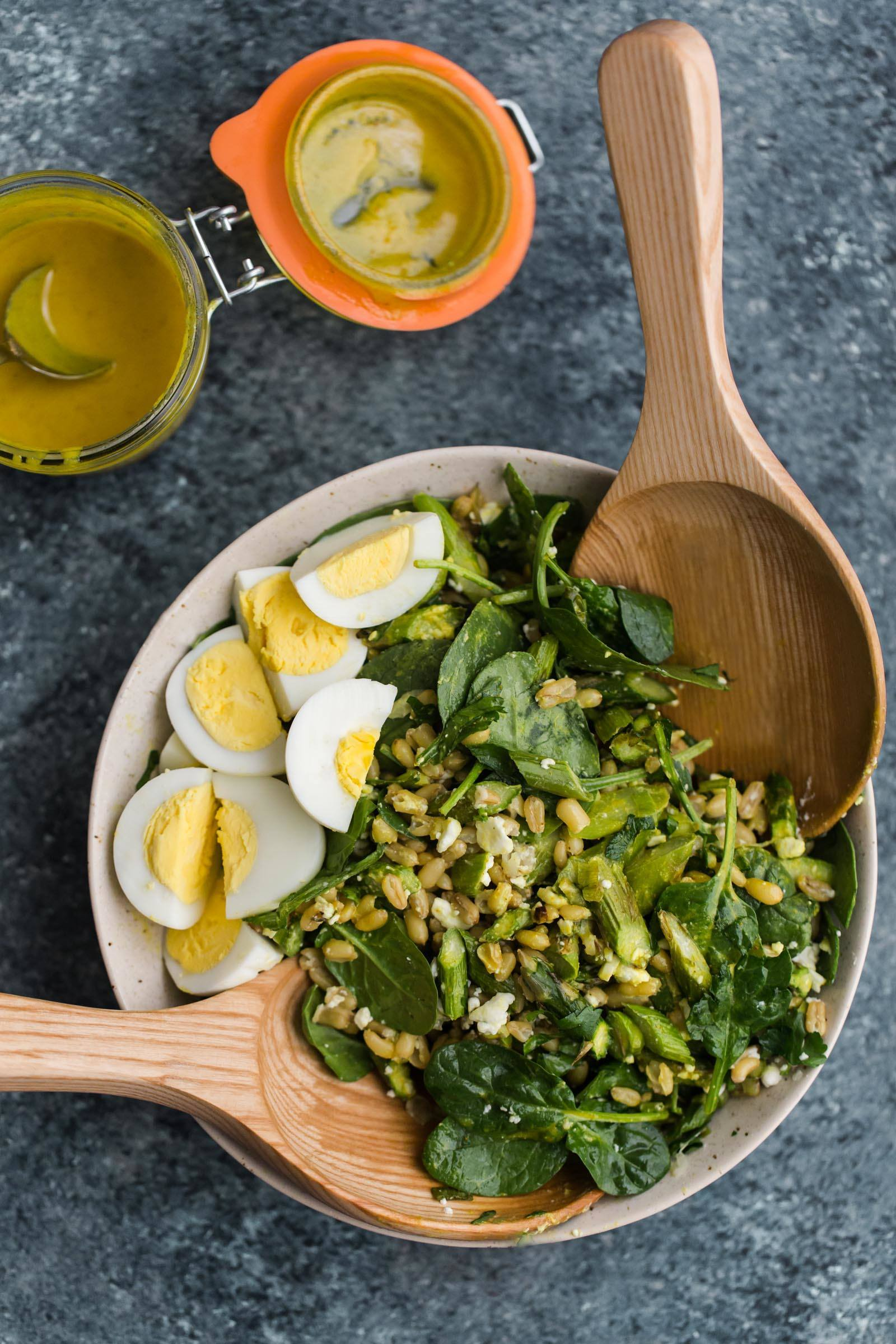 Asparagus Salad with Turmeric Tahini Dressing